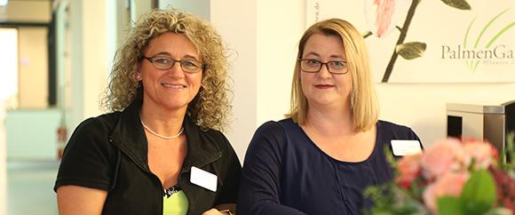 Dieses Bild zeigt das Team der Anmeldung in der Abteilung Strahlentherapie. Frau Pia Jung und Frau Andrea Schmitz.